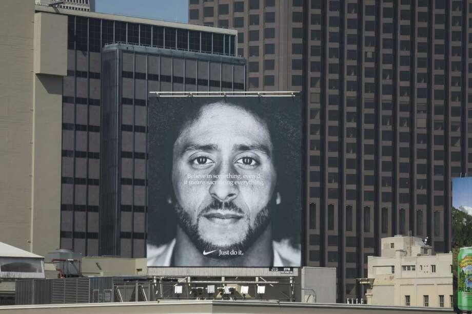 97f09d4df A new billboard featuring former 49er quarterback Colin Kaepernick is seen  on the corner of Post