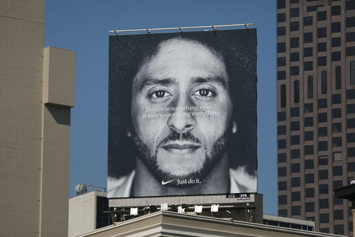 A new billboard featuring former 49er quarterback Colin Kaepernick is seen on the corner of Post and Stockton Streets on Tuesday, September 4, 2018 in San Francisco, Calif.