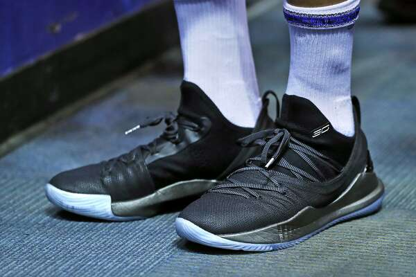 d682e47e7944 2of16Golden State Warriors  Stephen Curry wears his new Under Armour Curry  5 shoes before Warriors  game against Los Angeles Lakers at Oracle Arena in  ...