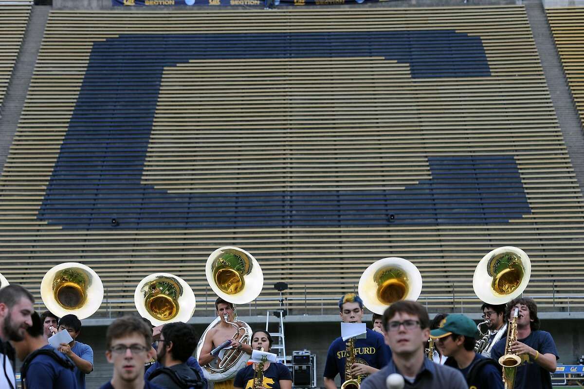 The Cal marching band held a practice in preparation for the game against Stanford this weekend at Memorial Stadium in Berkeley, CA Friday October 19th, 2012.
