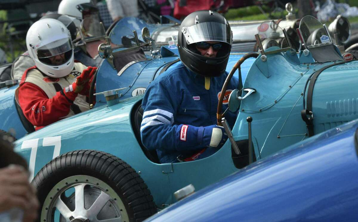 Douglas Cushnie from Sherman Conn. stages on the false grid in his 1927 Bugatti T35C with others in Group 5 'Bugatti Grand Prix' during Historic Festival 36 at Lime Rock Park in Lakeville Conn. on Saturday September 1, 2018. Hundreds of vintage race cars took to the track over the weekend competing in 8 classes including the largest group of Bugatti's with the Sunday in the Park Concours & Gathering of the Marques .
