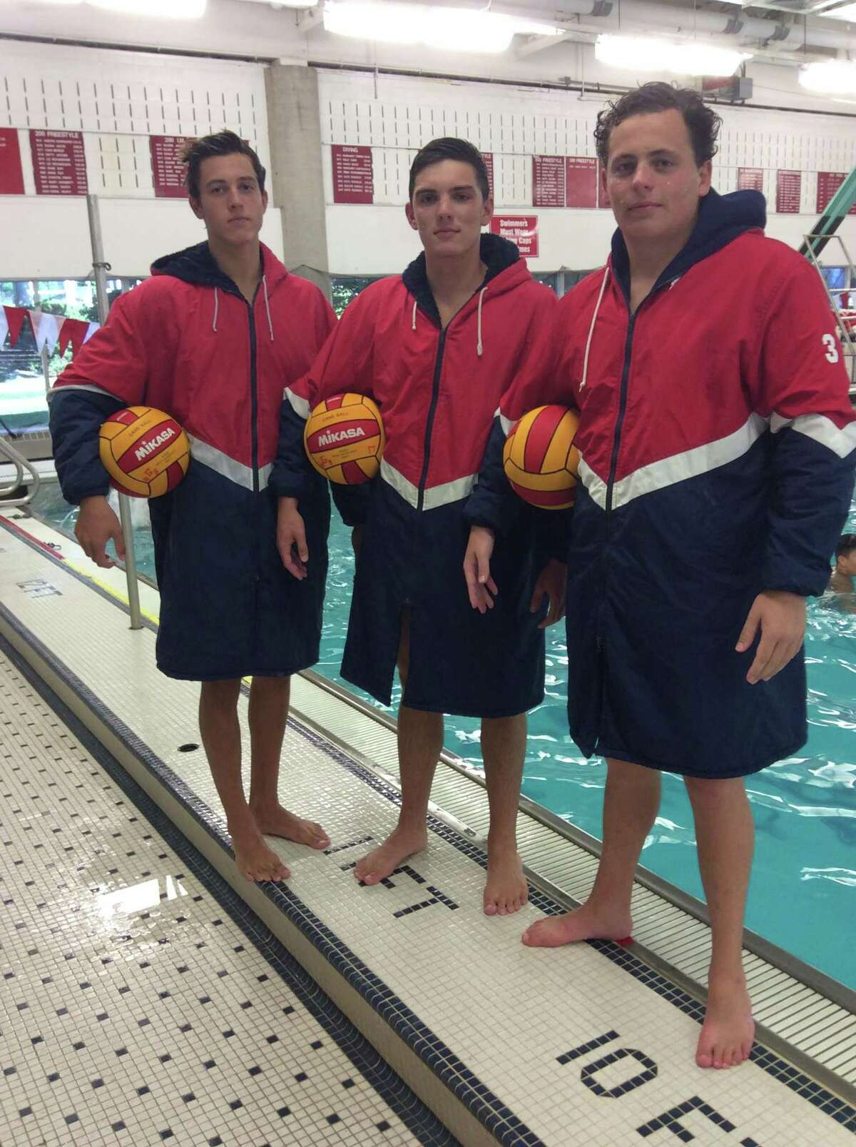 From left to right, Niki de la Sierra, Kyle Laufenberg and Tegan D?'Agostino are senior captains on the Greenwich High School water polo team. September 4, 2018