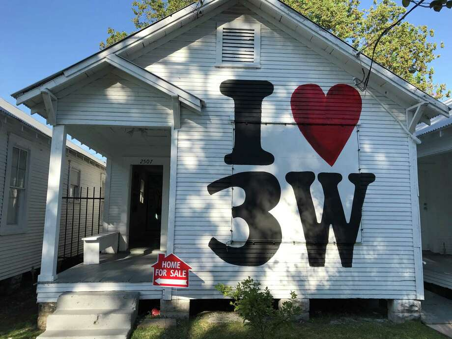 "Marc Newsome's ""I Love 3W"" is a Third Ward-inspired Monopoly Game, rendered as a room, at Project Row Houses. Photo: Molly Glentzer / Houston Chronicle"