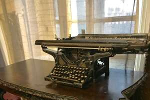 Typewriter of dissident Russian writer Mikhail Bulgakov at a museum honoring him in Moscow. (Paul Grondahl / Times Union)