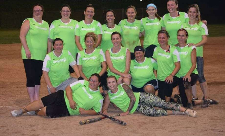 New Milford womens softball league recently wrapped up its season and crowned two team champions. The 2018 Women's North Division Champs, Athlete's Source, is shown above, from left to right, in front, Michelle Haber and Jenn Miller; middle row, Tricia Kendziera, Tammie Hogan, Lisa Maciel, Christine Bello, Ali Moravsky and Nicole McGuinnes; and in back, Amy Rodriguez, Lynn Mulhall, Jules Flood, Michele DeGrosso, Kristin Bailey, Megan Fuller, Jennie Flannery and Meg Lyon. Missing from photo is Laura Knapp and Baby Delilah Knapp. Photo: Contributed Photo / Contributed Photo / The News-Times Contributed