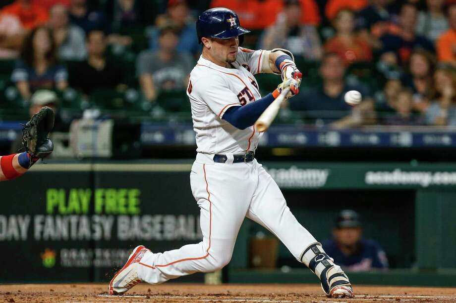 Houston Astros third baseman Alex Bregman (2) hits an RBI double during the first inning as the Houston Astros take on the Minnesota Twins at Minute Maid Park Tuesday Sept. 4, 2018 in Houston. Photo: Michael Ciaglo, Staff Photographer / Michael Ciaglo