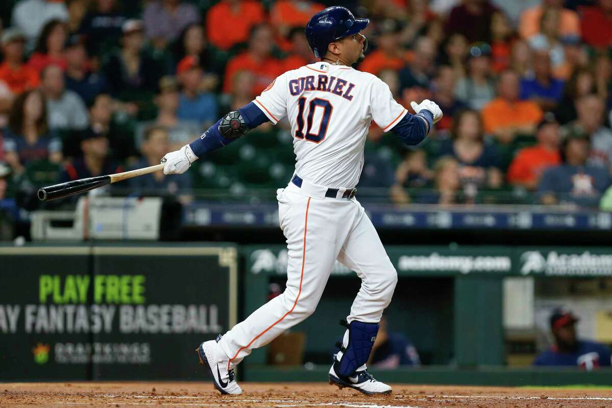 Houston Astros first baseman Yuli Gurriel (10) hits a two-run home run during the first inning as the Houston Astros take on the Minnesota Twins at Minute Maid Park Tuesday Sept. 4, 2018 in Houston.