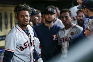 Houston Astros first baseman Yuli Gurriel (10) looks into the camera after hitting a two-run home run during the first inning as the Houston Astros take on the Minnesota Twins at Minute Maid Park Tuesday Sept. 4, 2018 in Houston.
