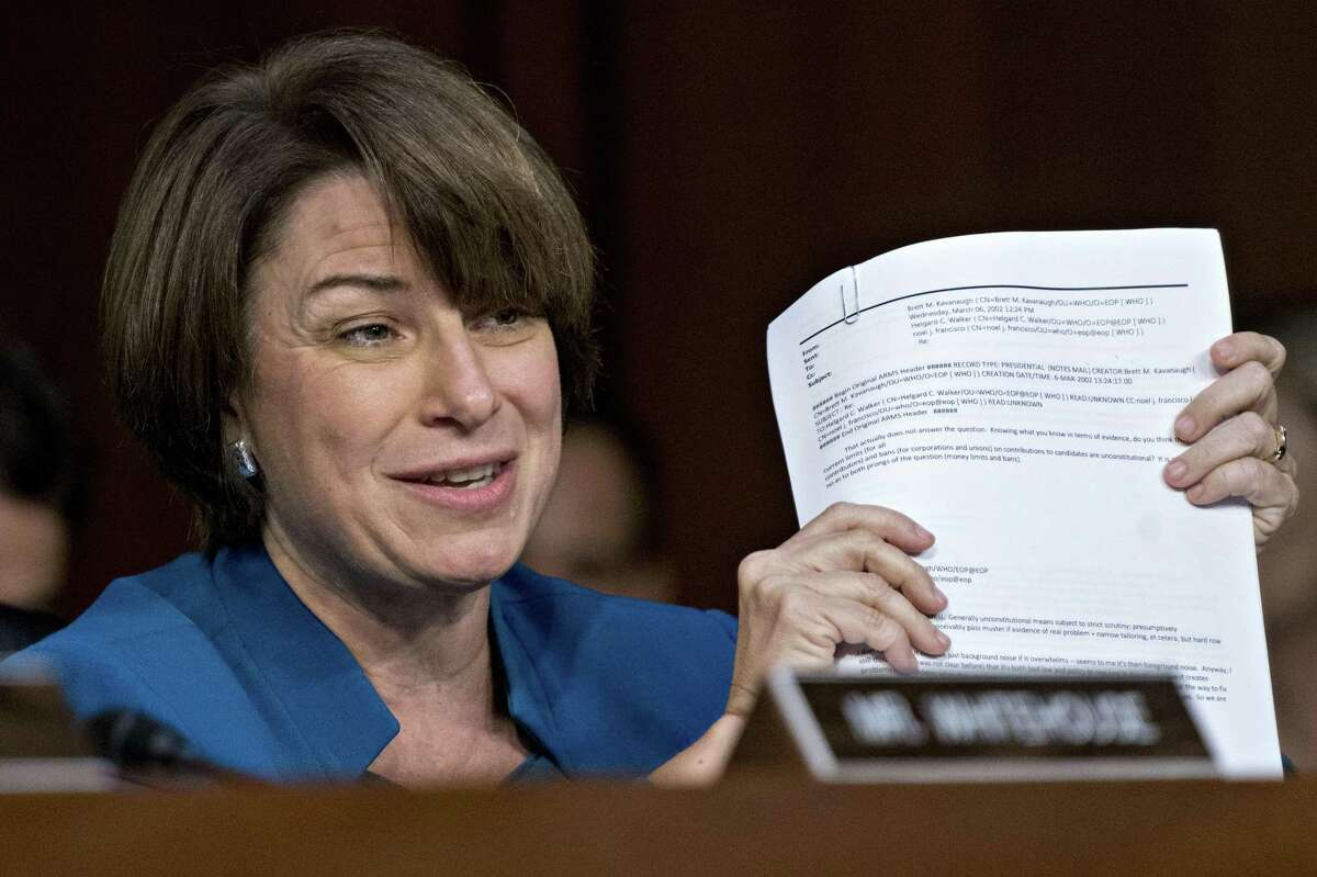 Senator Amy Klobuchar, a Democrat from Minnesota, speaks during a Senate Judiciary Committee confirmation hearing for Brett Kavanaugh, U.S. Supreme Court associate justice nominee for U.S. President Donald Trump, not pictured, in Washington, D.C., U.S., on Tuesday, Sept. 4, 2018.