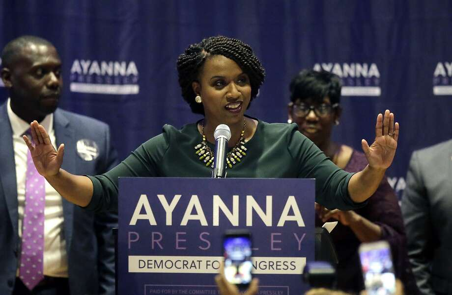 Boston City Councilor Ayanna Pressley celebrates her victory over Rep. Michael Capuano, virtually assuring that she will be the first black woman to serve Massachusetts in Congress. Photo: Steven Senne / Associated Press