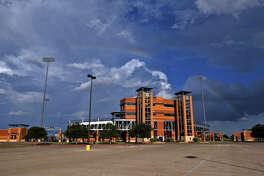Rainbow over exterior of Grande Communications Stadium Sept. 4, 2018, at Security Bank Ballpark. James Durbin/Reporter-Telegram