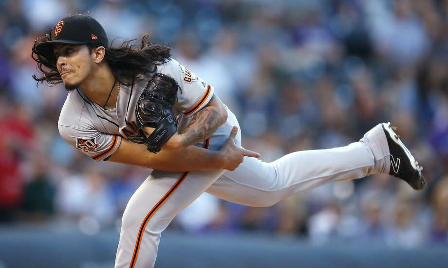 San Francisco Giants starting pitcher Dereck Rodriguez follows through on a delivery to a Colorado Rockies batter during the first inning of a baseball game Tuesday, Sept. 4, 2018, in Denver. (AP Photo/David Zalubowski) Photo: David Zalubowski / Associated Press