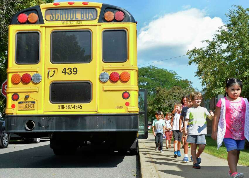 New kindergarten students got to test ride the school buses during Kindergarten Orientation at Division Street Elementary School Tuesday Sept. 4, 2018 in Saratoga Springs, NY. (John Carl D'Annibale/Times Union)