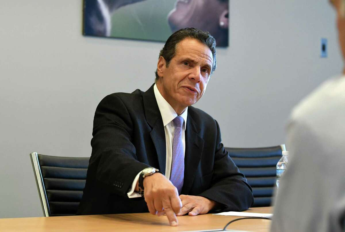Gov. Andrew Cuomo speaks to the Times Union editorial board on Tuesday, Sept. 4 2018, at the Times Union in Colonie N.Y. (Will Waldron/Times Union)