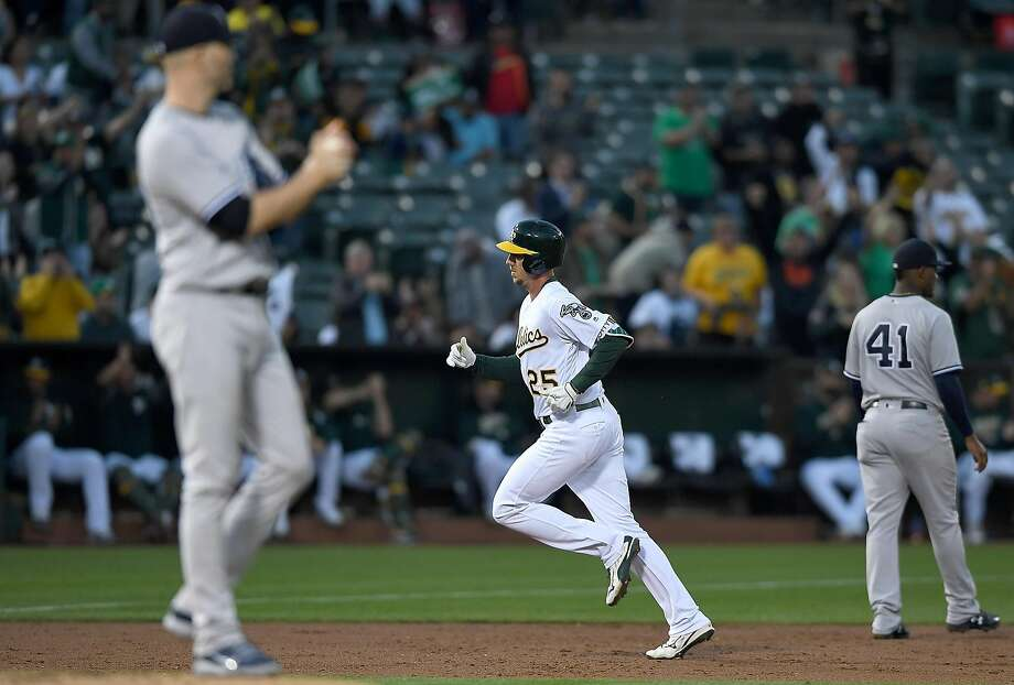 OAKLAND, CA - SEPTEMBER 04:  Stephen Piscotty #25 of the Oakland Athletics trots around the bases after hitting a solo home run off of J.A. Happ #34 of the New York Yankees in the bottom of the second inning at Oakland Alameda Coliseum on September 4, 2018 in Oakland, California.  (Photo by Thearon W. Henderson/Getty Images) Photo: Thearon W. Henderson / Getty Images