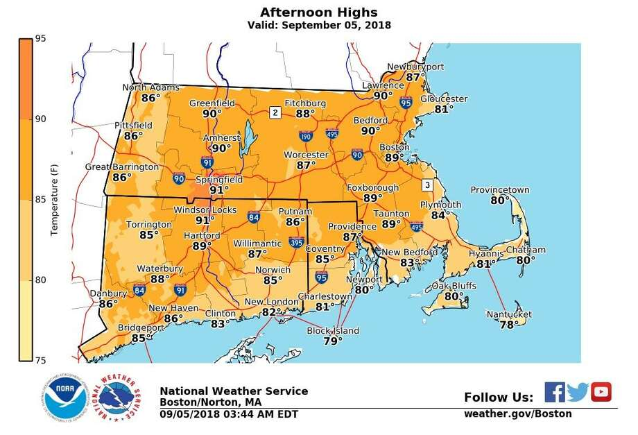 Expect a sunny day with light wind and high temps near 90. Temperatures will be cooler along the shoreline. Warmer and more humid air returns on Thursday, along with showers and scattered thunderstorms. Cooler temperatures arrive for Friday and Saturday. Photo: NWS Boston Office /Facebook