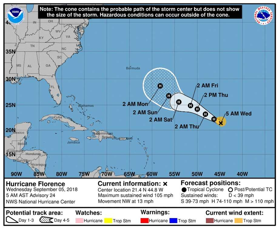 Hurricane Florence's projected path as of Wednesday morning, September 5, 2018. Photo: National Weather Service