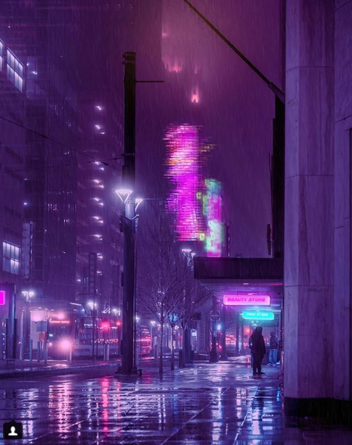 In a new photo series, Chris Nhut Le has imagined Houston floating among the stars with streets bathed in neon light similar to scenes from