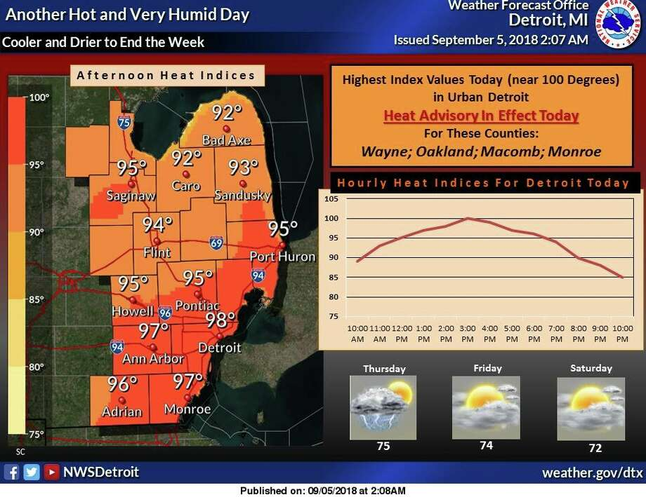 There will be one more hot and humid day today before a cold front pushes across the region tonight. This front will bring a good chance for showers and thunderstorms to the area tonight into Thursday morning. Much cooler and drier air will filter into the region in the wake of this front. Photo: National Weather Service Detroit