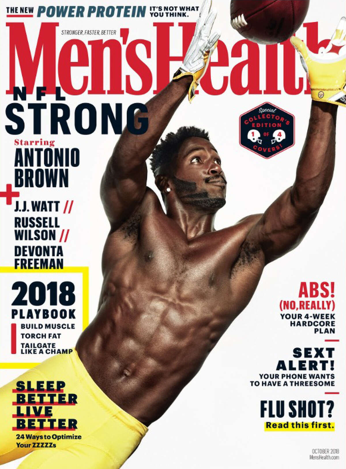 The Pittsburgh Steelers' Antonio Brown appears on the cover of the October 2018 Men's Health issue.