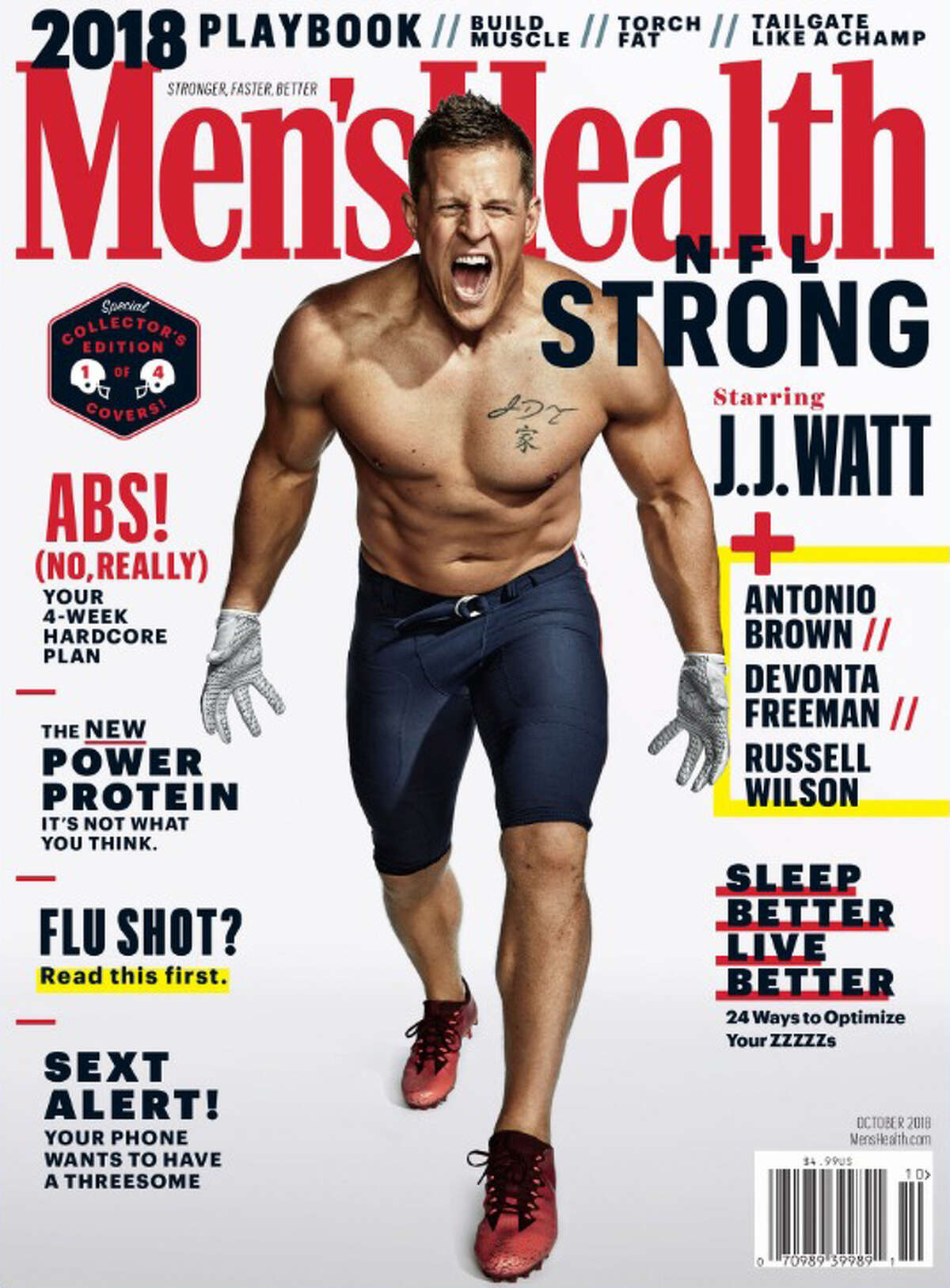 PHOTOS: A look at the Men's Health regional covers as well as other times J.J. Watt has been on magazine covers The Houston Texans' J.J. Watt appears on the cover of the October 2018 Men's Health issue. Take a look at the other Men's Health covers as well as other times J.J. Watt has been on the cover of magazines ...