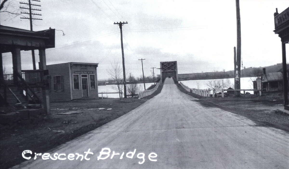 A view south from Crescent at the bridge over the Mohawk River, circa 1930s