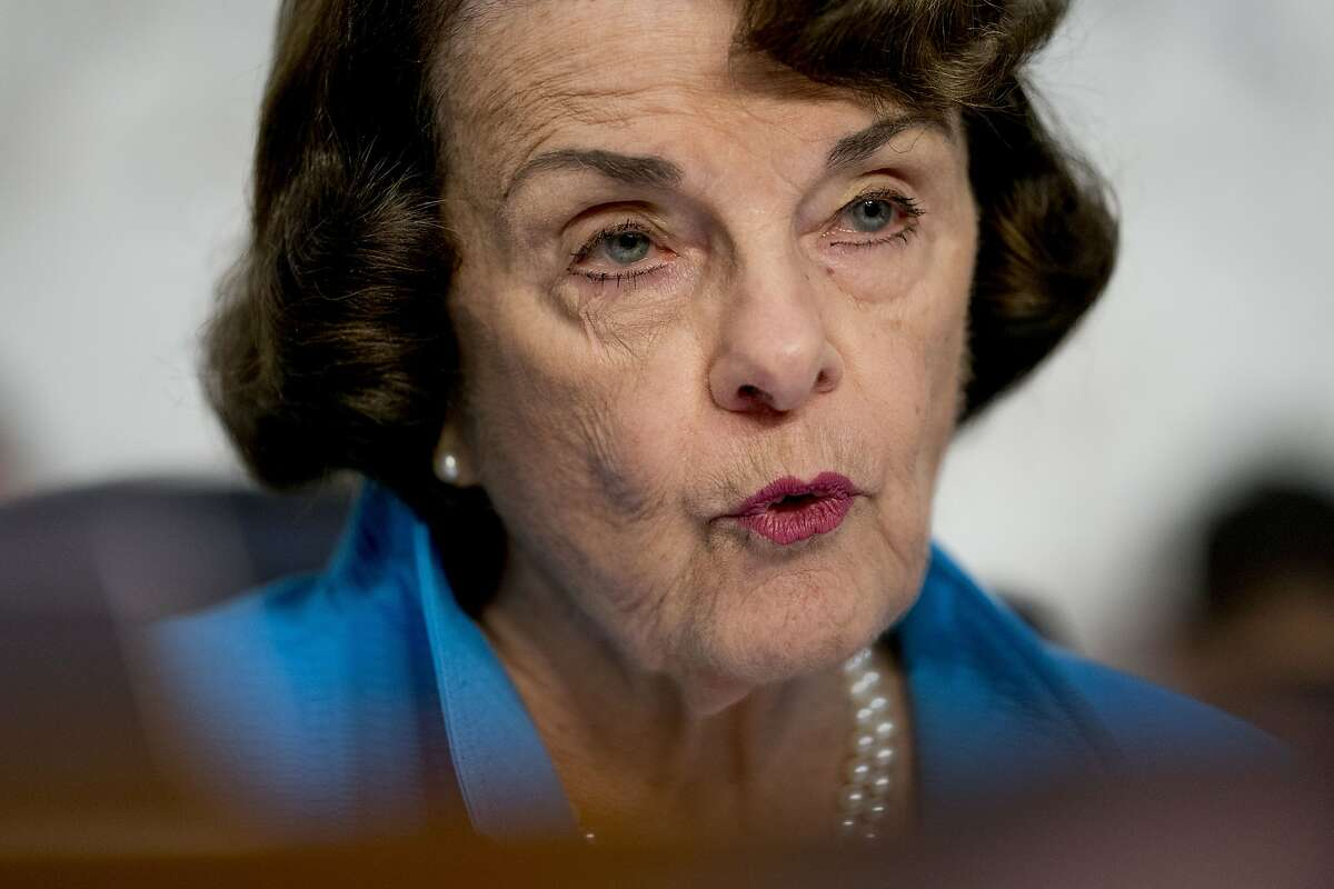 Sen. Dianne Feinstein, D-Calif., the ranking member on the Senate Judiciary Committee, questions President Donald Trump's Supreme Court nominee, Brett Kavanaugh, a federal appeals court judge, as he testifies before the Senate Judiciary Committee on Capitol Hill in Washington, Wednesday, Sept. 5, 2018, for the second day of his confirmation to replace retired Justice Anthony Kennedy. (AP Photo/Andrew Harnik)
