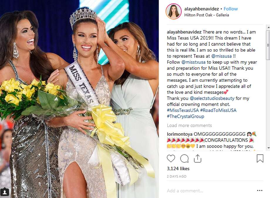 """This dream I have had for so long and I cannot believe that this is real life,"" Alayah Benavidez captioned a photo of her crowning moment. ""I am so so thrilled to be able to represent Texas at @missusa!!"" Photo: Instagram Screengrab"