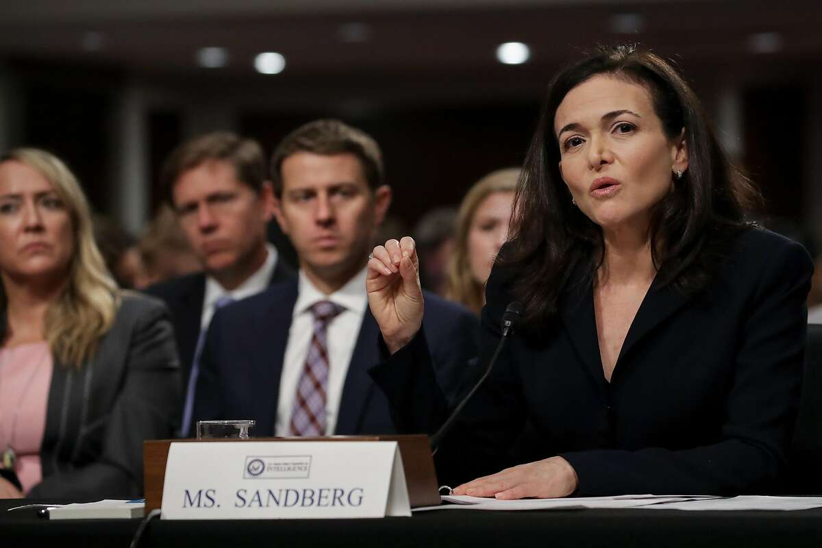 WASHINGTON, DC - SEPTEMBER 5: Facebook chief operating officer Sheryl Sandberg testifies during a Senate Intelligence Committee hearing concerning foreign influence operations' use of social media platforms, on Capitol Hill, September 5, 2018 in Washington, DC. Twitter CEO Jack Dorsey and Facebook chief operating officer Sheryl Sandberg faced questions about how foreign operatives use their platforms in attempts to influence and manipulate public opinion. (Photo by Drew Angerer/Getty Images)
