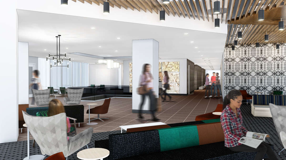 A new lobby is part of the renovations at One Riverway. Unilev Management Corp., Azrieli Group and CBRE announced a multimillion-dollar infrastructure upgrade and renovation project at One and Three Riverway.