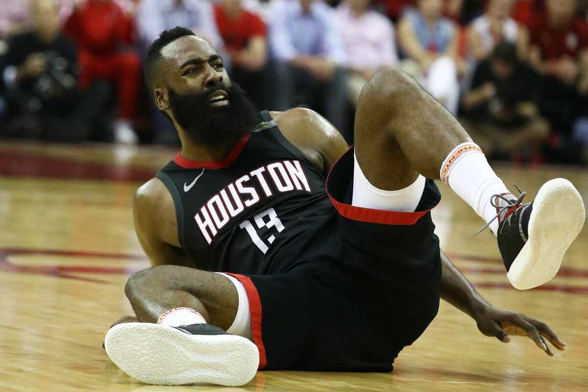 ROLLED UP Later last season, James Harden stopped cutting his Nike socks and began just rolling them to obscure the Nike logo as shown in this photo from Game 7 of the Western Conference Finals against Golden State on May 28, 2018.
