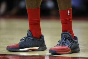 HOUSTON, TX - OCTOBER 30: A close up view of the shoes worn by James Harden #13 of the Houston Rockets against the Philadelphia 76ers in the first half at Toyota Center on October 30, 2017 in Houston, Texas. NOTE TO USER: User expressly acknowledges and agrees that, by downloading and or using this photograph, User is consenting to the terms and conditions of the Getty Images License Agreement. (Photo by Tim Warner/Getty Images)