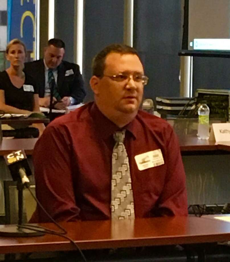 Matthew Hough, Ansonia teacher at State BOE meeting in Hartford. Sept. 5, 2018 Photo: Linda Conner Lambeck