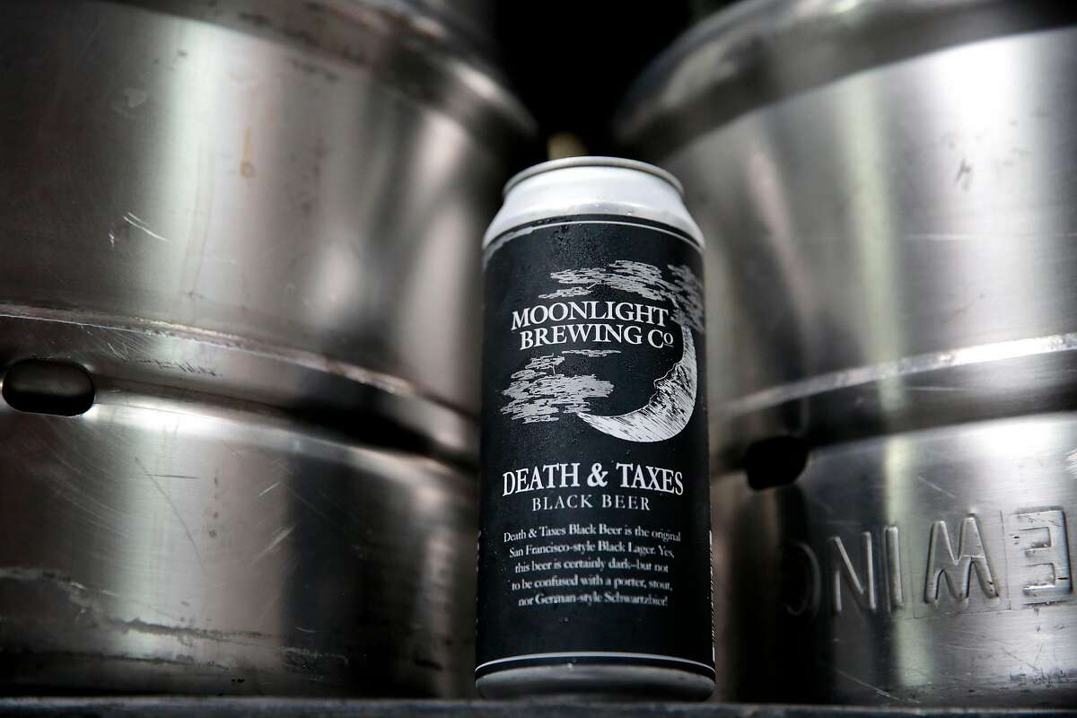 A can of Moonlight Brewing Company's flagship beer, Death & Taxes, a black lager, in Santa Rosa, Calif., on Aug. 31, 2018.