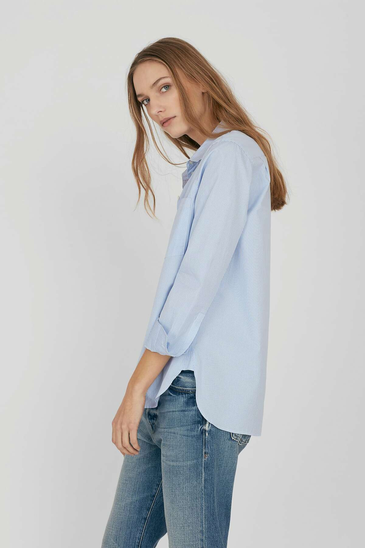 Cuyana's poplin Boyfriend shirt ($145) also comes in a blue-and-white stripe and a solid white.