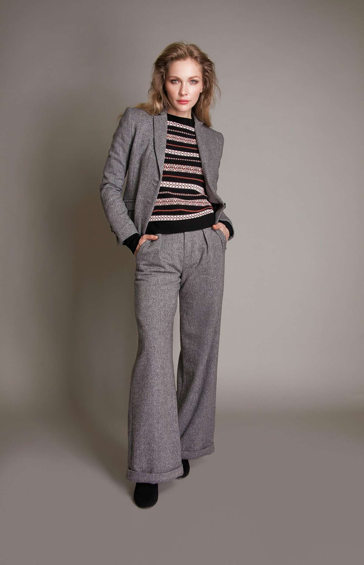 The Amanda herringbone jacket �embodies Old World charm with a modern and wearable aesthetic,� says the fashion label�s namesake, Jessie Liu. The luxe wool allows for �great recovery, fabric weight and fiber retention�all of which aid in keeping both the integrity and shape of the blazer consistent.�