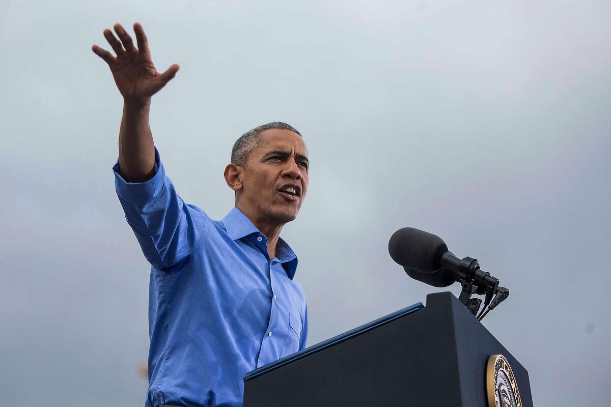 FILE-- Then President Barack Obama speaks at a campaign event for Hillary Clinton at Osceola County Stadium in Kissimmee, Fla., Nov. 6, 2016. Having largely avoided campaign activities since leaving office, Obama�s first public event of the midterm election will take place in Orange County in 2018, a traditionally conservative-leaning part of California. He is said to be returning to the campaign trail with plans to help Democratic candidates in Illinois and Pennsylvania as well. (Al Drago/The New York Times)