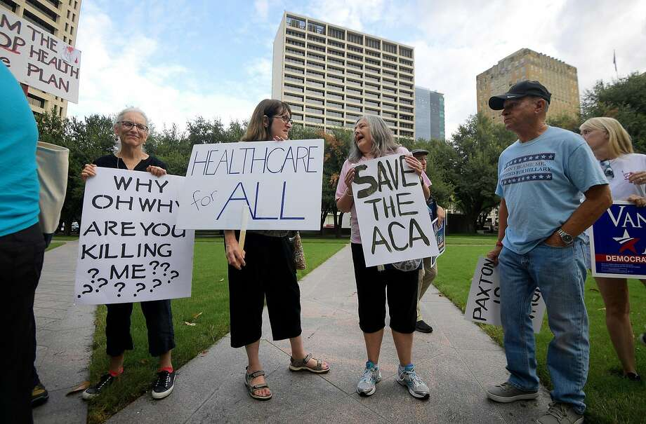 Supporters of the Affordable Care Act protest during a rally at Burnett Park in Fort Worth, Texas, Wednesday, Sept. 5, 2018. (Max Faulkner/Fort Worth Star-Telegram/TNS) Photo: Max Faulkner, TNS
