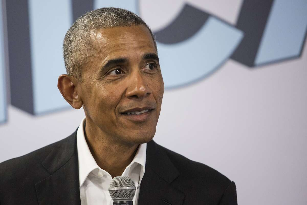 Former President Barack Obama meets with stakeholders and community members at the Obama Foundation's headquarters in Hyde Park, Tuesday, Aug. 28, 2018. The meeting was called to provide an update on the Obama Center's programming and a chance for the former president to thank the pre-selected group of community members. (Ashlee Rezin/Sun-Times/Chicago Sun-Times via AP)