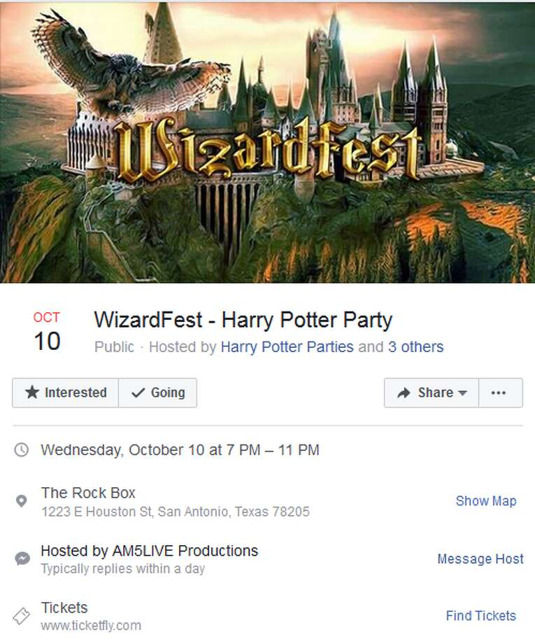 "Wizard Fest, a ""huge dance party"" inspired by Harry Potter, will take over The Rock Box, at 1223 E. Houston, on Oct. 10. Photo: Facebook Screengrab"