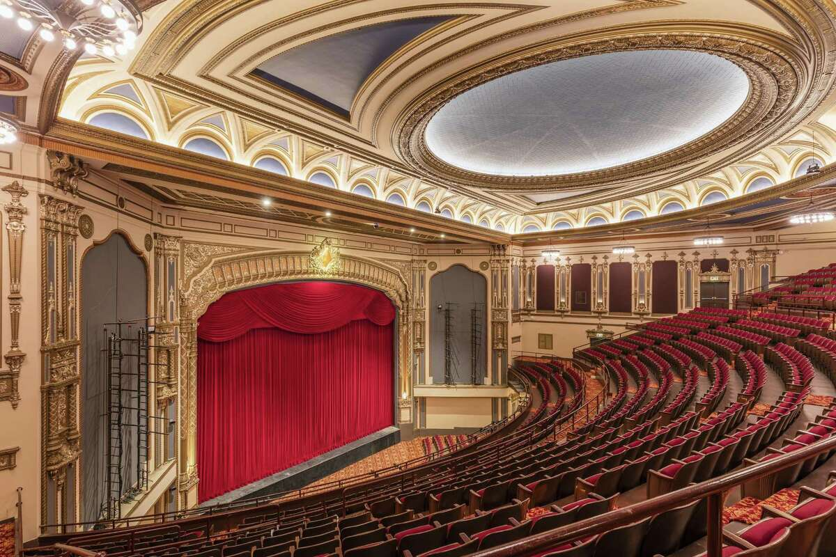 The new curtain at the SHN Golden Gate Theatre returns to the red of its original velvet drape.