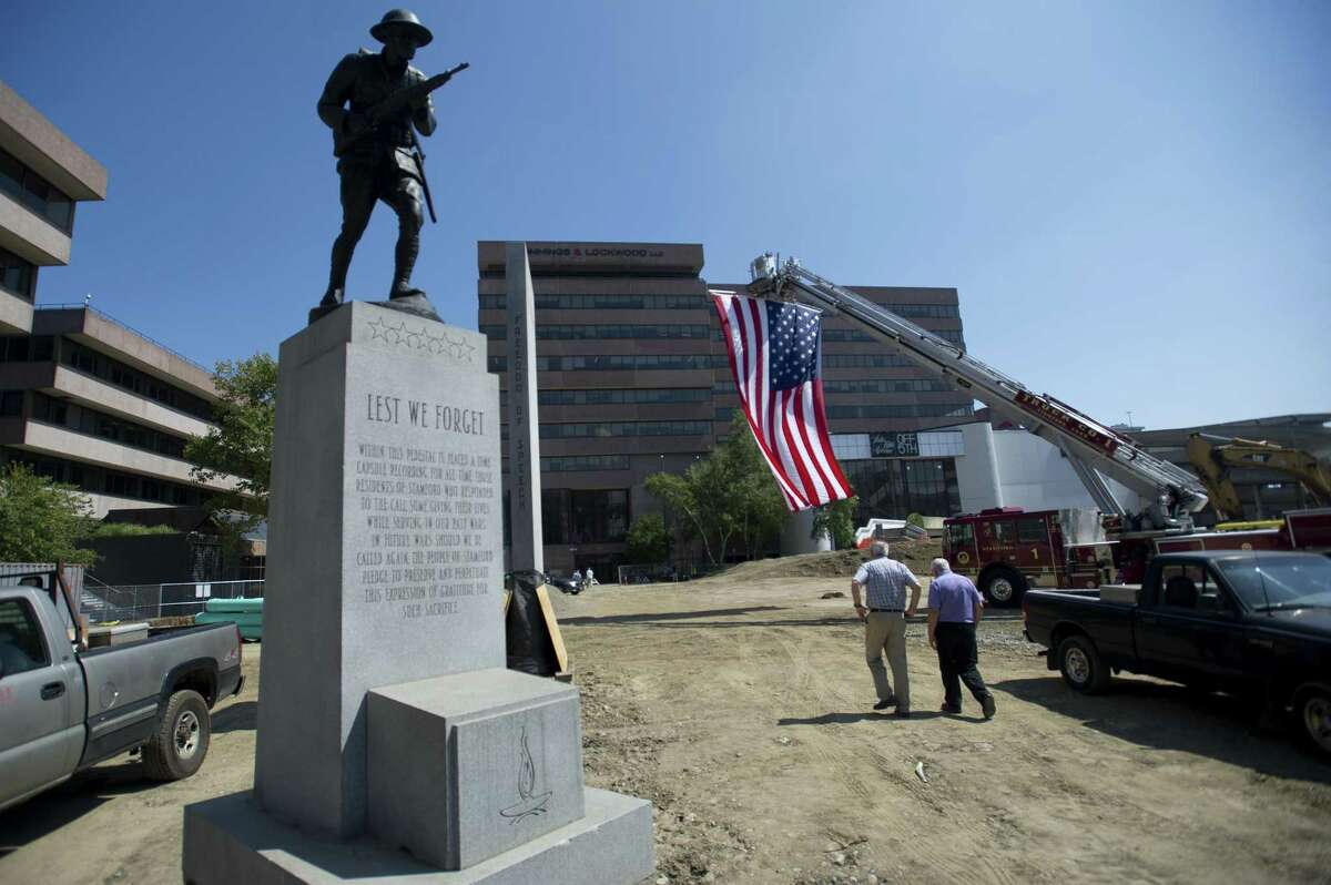 The monuments at Veterans Memorial Park have been isolated to protect them during the renovation.