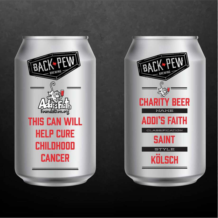 Back Pew Brewing released a limited edition brew called Addi's Faith Kolsch, which will be available for purchase at locations in greater Houston through September to help raise awareness about childhood cancer and the Kingwood-based nonprofit, Addi's Faith Foundation. Photo: Courtesy Of Amber Bender / Courtesy Of Amber Bender