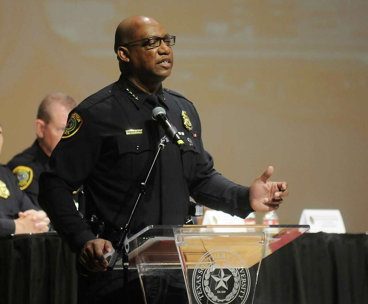 HPD chief Charles McClelland speaks at an HPD town hall meeting on the campus of Texas Southern University Saturday Feb. 07,2015.(Dave Rossman For the Chronicle)