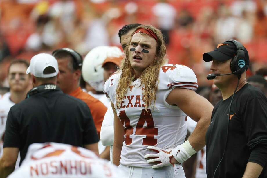 LANDOVER, MD - SEPTEMBER 1: Breckyn Hager #44 of the Texas Longhorns looks on in the first half against the Maryland Terrapins at FedExField on September 1, 2018 in Landover, Maryland. (Photo by Rob Carr/Getty Images) Photo: Rob Carr /Getty Images / 2018 Getty Images