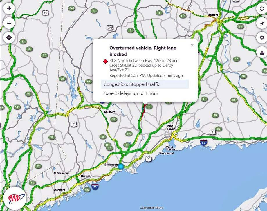 A screenshot of the Sigalert website, monitored by AAA, shows delays estimated up to one hour in the area. The DOT said that stretch of highway is shut down as of 6:15 p.m. Photo: Contributed Photo / Sigalert / Contributed Photo / Connecticut Post Contributed