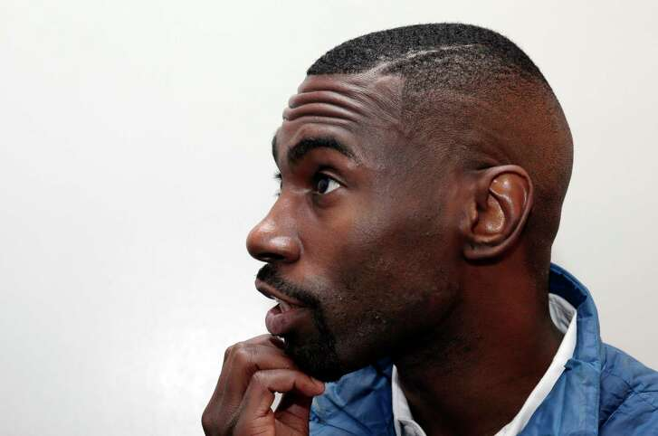 Civil rights activist DeRay Mckesson during in interview in his dressing room before speaking at the Cullen Performance Center at the University of Houston in Houston, TX, Nov. 29, 2017. (Michael Wyke / For the  Chronicle)