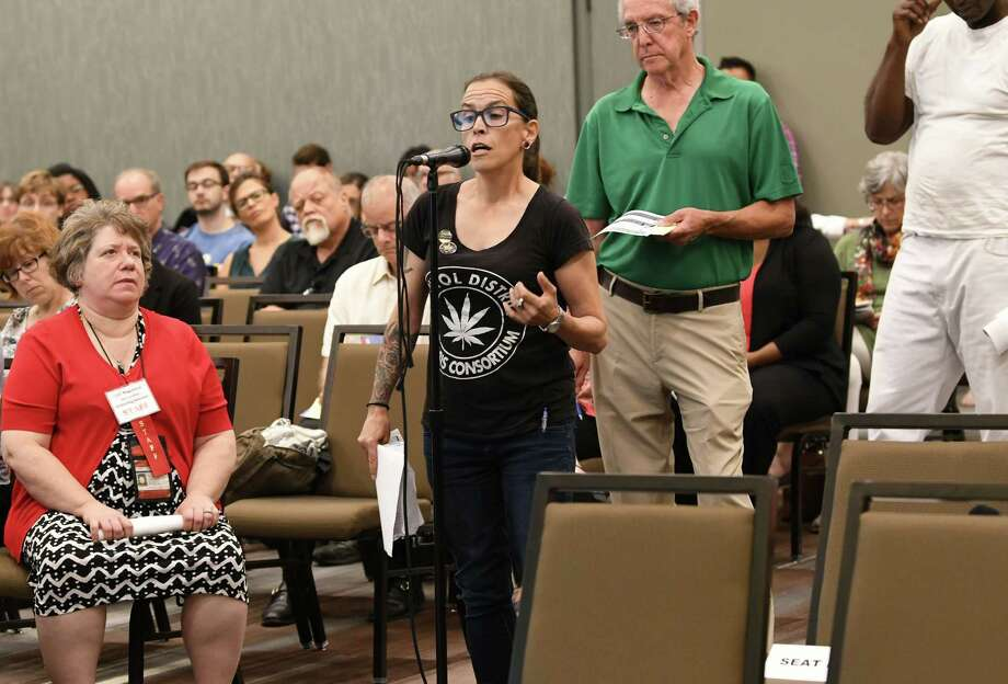 Kimberleigh Krepp, founder, Capital District Cannabis Consortium, gives her input as the Department of Health hosts the first of 16 statewide listening sessions on regulated marijuana at the Albany Capital Center on Wednesday, Sept. 5, 2018 in Albany, N.Y.  The purpose is to garner input from community and stakeholders on the implementation of a regulated marijuana program in New York, which is expected next year. (Lori Van Buren/Times Union) Photo: Lori Van Buren, Albany Times Union / 20044743A