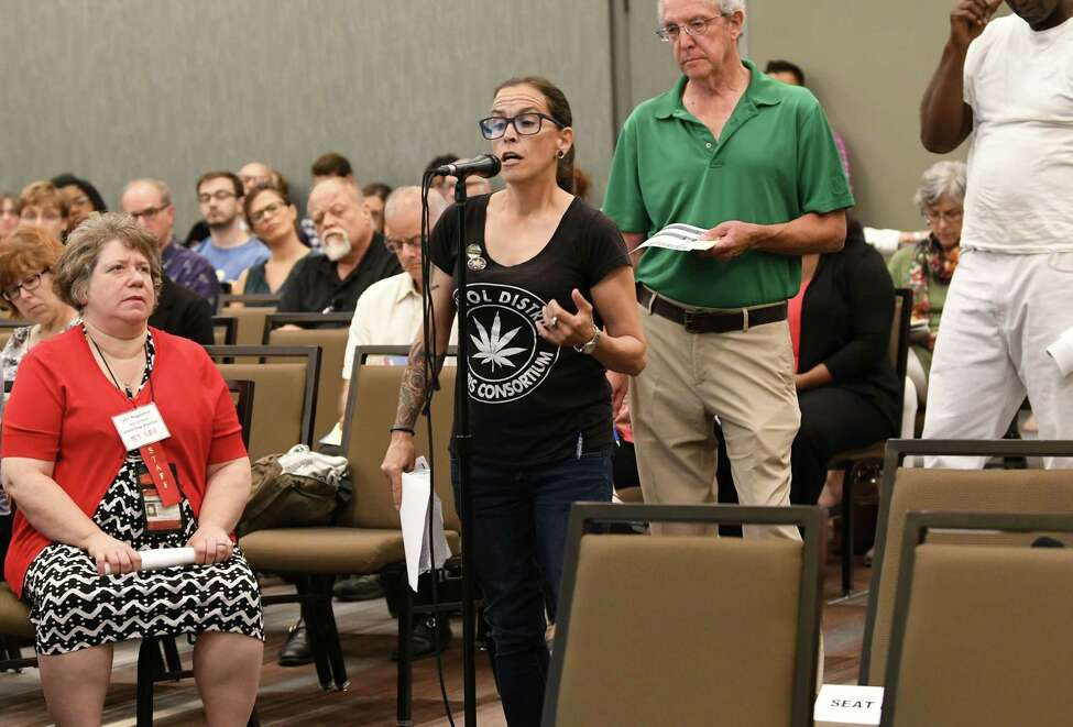 Kimberleigh Krepp, founder, Capital District Cannabis Consortium, gives her input as the Department of Health hosts the first of 16 statewide listening sessions on regulated marijuana at the Albany Capital Center on Wednesday, Sept. 5, 2018 in Albany, N.Y. The purpose is to garner input from community and stakeholders on the implementation of a regulated marijuana program in New York, which is expected next year. (Lori Van Buren/Times Union)