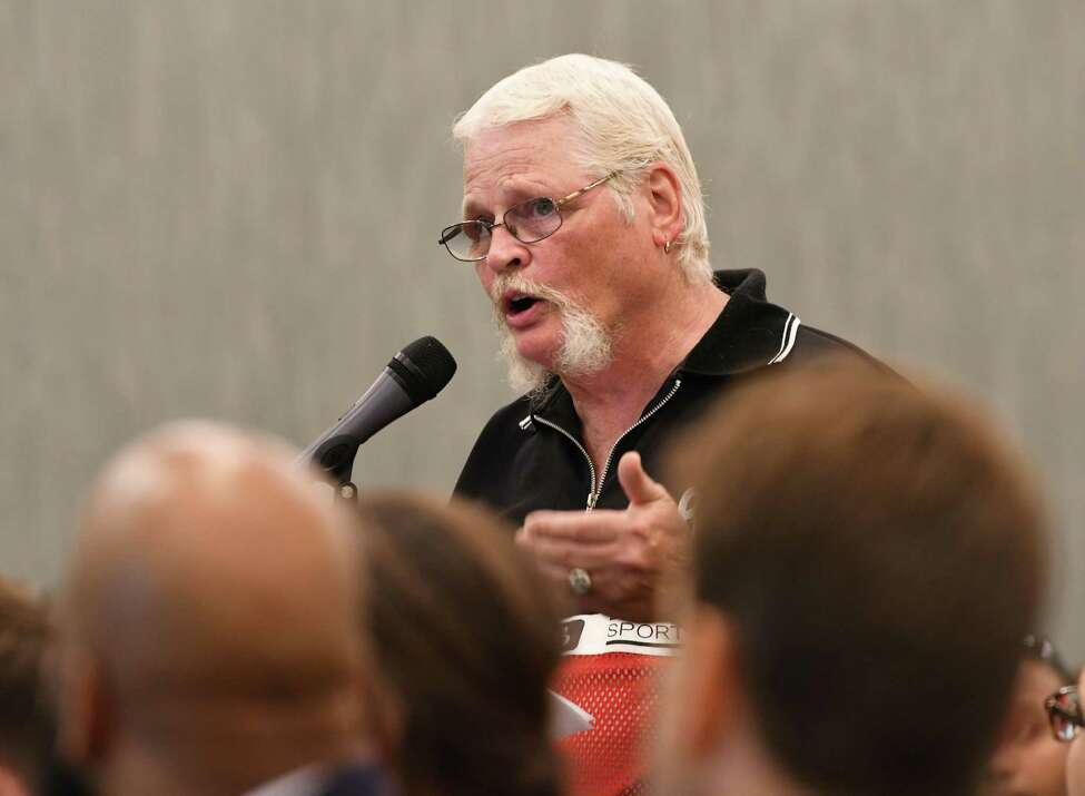 Rev. Hank McGrath of Fulton County, Neighborhoods Against Drugs, give his input as the Department of Health hosts the first of 16 statewide listening sessions on regulated marijuana at the Albany Capital Center on Wednesday, Sept. 5, 2018 in Albany, N.Y. The purpose is to garner input from community and stakeholders on the implementation of a regulated marijuana program in New York, which is expected next year. (Lori Van Buren/Times Union)